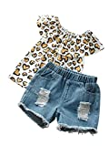Xiaoqiao Conjunto de ropa de verano con estampado de leopardo, hombros descubiertos, con volantes, pantalones...