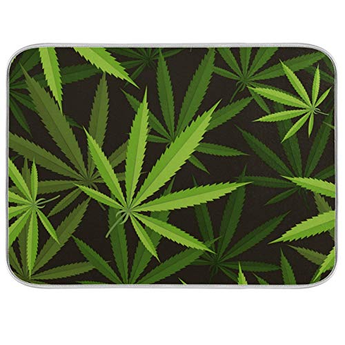 Estera de microfibra para secar platos, extra grande, súper absorbente, diseño de doble cara para cocina, hojas de cannabis de 18 x 24 pulgadas