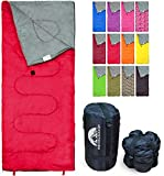 REVALCAMP Lightweight Red Sleeping Bag Indoor & Outdoor use. Great for Kids, Teens & Adults. Ultra Light and Compact Bags are Perfect for Hiking, Backpacking, Camping & Travel.