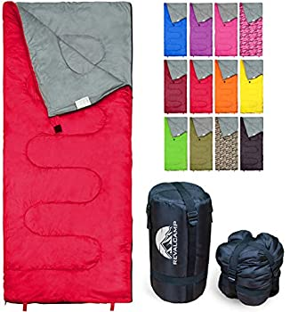 REVALCAMP Lightweight Red Sleeping Bag Indoor & Outdoor use Great for Kids Teens & Adults Ultra Light and Compact Bags are Perfect for Hiking Backpacking Camping & Travel.