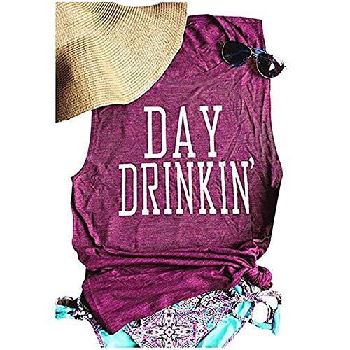 Women's Day Drinking Casual LooseTank Tops, Funny Letters Print Vest T-Shirt (Purple S)