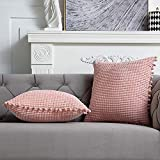 DEZENE Pink Decorative Couch ThrowPillowCovers - 2Pack20x20Inch Soft Corduroy Corn Striped Pom-poms Square PillowCasesforBedroomSofaLivingRoom