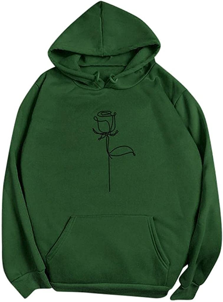 Toeava Hoodies for Women, Women's Flower Print Long Sleeve Hooded Sweatshirt Solid Color Pullover Hoodies with Pocket