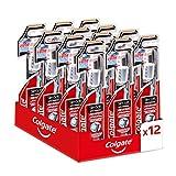 Colgate Spazzolino Slim Soft Morbido con Setole al Carbone che Aiuta a Rimuovere i Batteri, 12 Pezzi