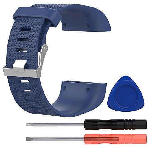Correa de repuesto para FitBit Surge, de Kobwa, con hebilla, diseño de silicona y 3 herramientas, Blue L