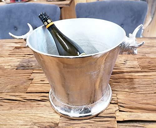 MichaelNoll Enfriador de champán, diseño de cabeza de tor, enfriador de vino, enfriador de botellas, enfriador de bebidas, aluminio plateado, para champán, vino y champán, XL 39 cm