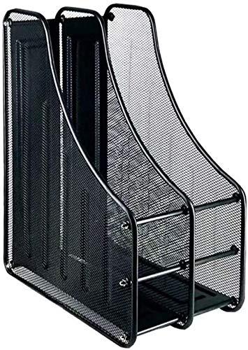 Compartimentos Revistero archivador de Malla metálica Revistero archivador triple de malla metálica/Archivadores de revistas/Estante para escritorio (2Archivos, Negro)
