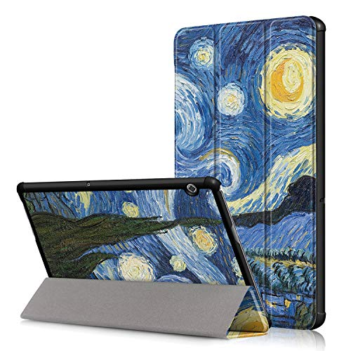 Casecool Funda Compatible Huawei MediaPad T5 10, Carcasa Flexible Ligera con Función de Soporte, Automática de Reposo/Actividad Protectora Plegable Cubierta Inteligente Trasera, Cielo