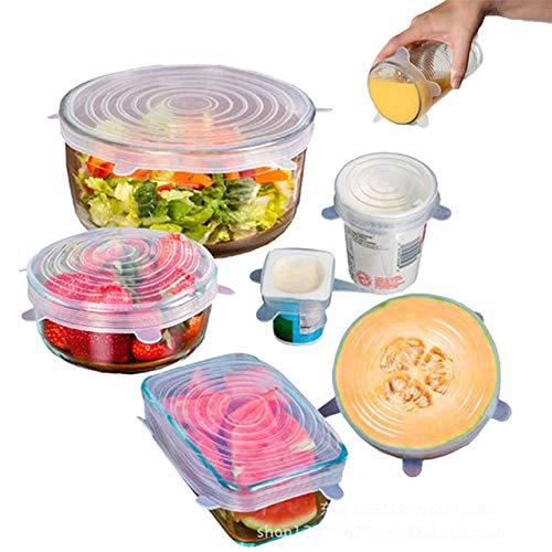 Gintan Tapas Expandibles de Silicona 6-Pack Tapas Reutilizables Tapas de Silicona para Conservar Las Frutas Frescas, Tapas para Recipientes para Cubrir la Comida, se Ajusta a Varios Tamaños