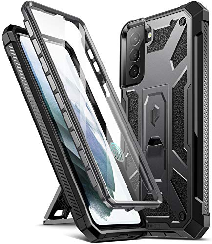 Poetic Spartan Case for Samsung Galaxy S21+ Plus 5G 6.7 inch, Built-in Screen Protector Work with Fingerprint ID, Full Body Rugged Shockproof Protective Cover Case with Kickstand, Metallic Gun Metal