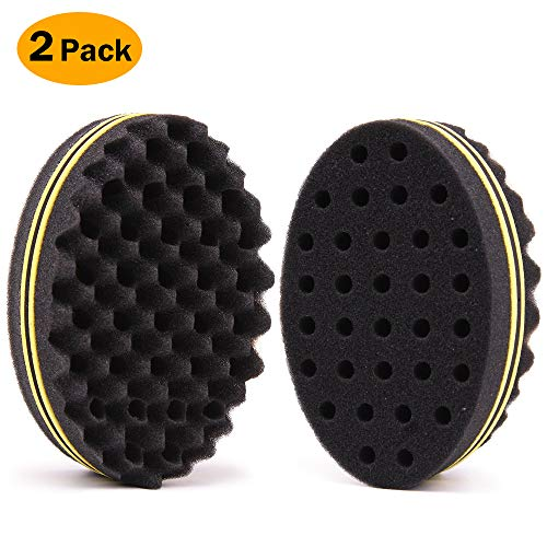BEWAVE Hair Twist Sponge Styling Tool For Dreads Afro Locs Twist Curl Coil Super Nice, Yellow (2 Pcs)
