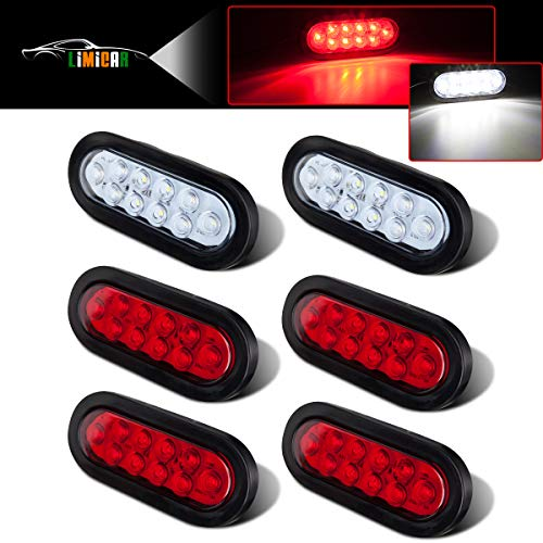 Vehicle Safety Manufacturing 6054 Red 6 Oval Sealed Stop//Tail//Turn Signal Lamp Red Lens, Grommet, and Harness