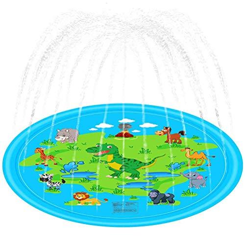 Splash Pad waterspeelmat 68 inch PVC Cartoon dinosaurus watersproeier pad voor baby, kinderen, hond en huisdieren