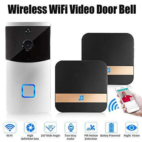 Slimme Wifi Video Deurbel Camera, Ring Video Deurbel Met HD Video, Bewegingsgeactiveerde Waarschuwingen, Eenvoudige Installatie,2 batteries+16G