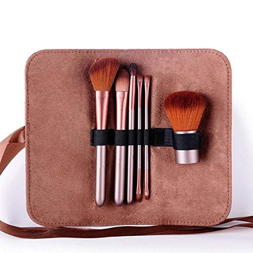 LIANGJIE Deux ensembles de pinceaux de maquillage à deux têtes Café Brosses de maquillage à deux têtes Débutant Portable Brosse de maquillage