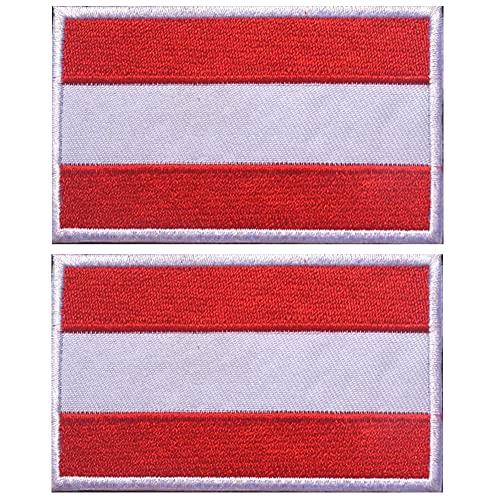 Parche de la bandera nacional de Austria Europa País Táctico Militar Bordado Insignias Emblema Moral Apliques de Hombro Parches Accesorios de Ropa Mochila Brazalete Paquete de 2