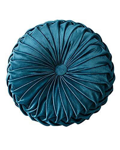 XQ House, cuscino rotondo in velluto, per divano e letto, 34,8 cm, colore: blu scuro