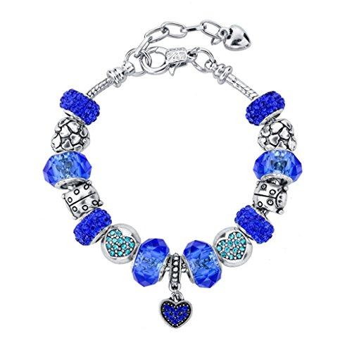 Long Way Silver Plated Snake Chain Blue Glass Bead Heart Charm Bracelet