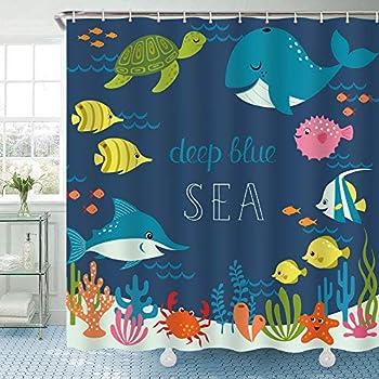 Riyidecor Kids Shower Curtain for Bathroom Decor 72Wx72H Cartoon Tropical Fish Bath Accessories for Boys Girls Underwater Ocean Theme Sea Animal Nature Shark Turtle Fabric 12 Pack Hooks