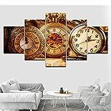 cxtnt Reloj de bolsillo retro 5 piezas HD Wallpapers Art Canvas Print Modern Poster Modular art painting para Living Room Home Decor