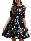 GLUDEAR Womens Girls Half Sleeve Swing Dress Christmas Print A Line Pleated Dress,Xmas Snowflake,L/XL