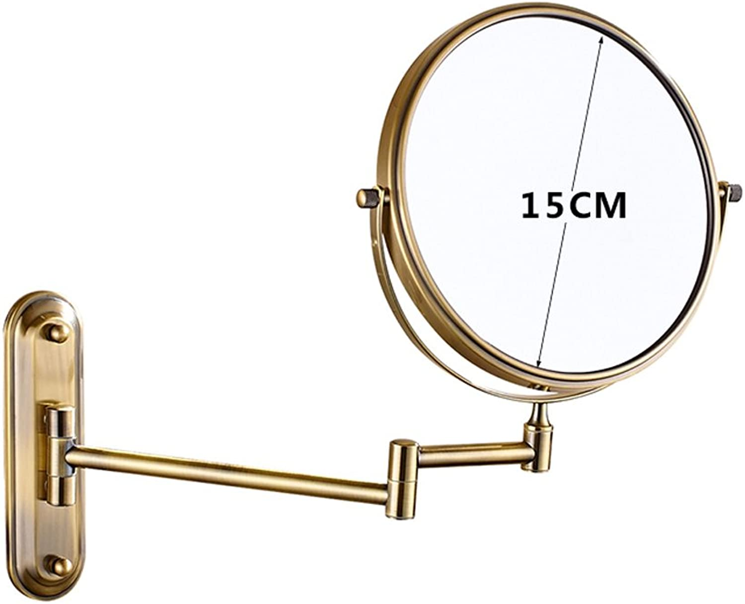 KTYXGKL Double Sided Mirror High-Definition Beauty Mirror Toilet Wall-Hanging Folding Make-up Mirror Makeup Mirror (Size   6 inches)