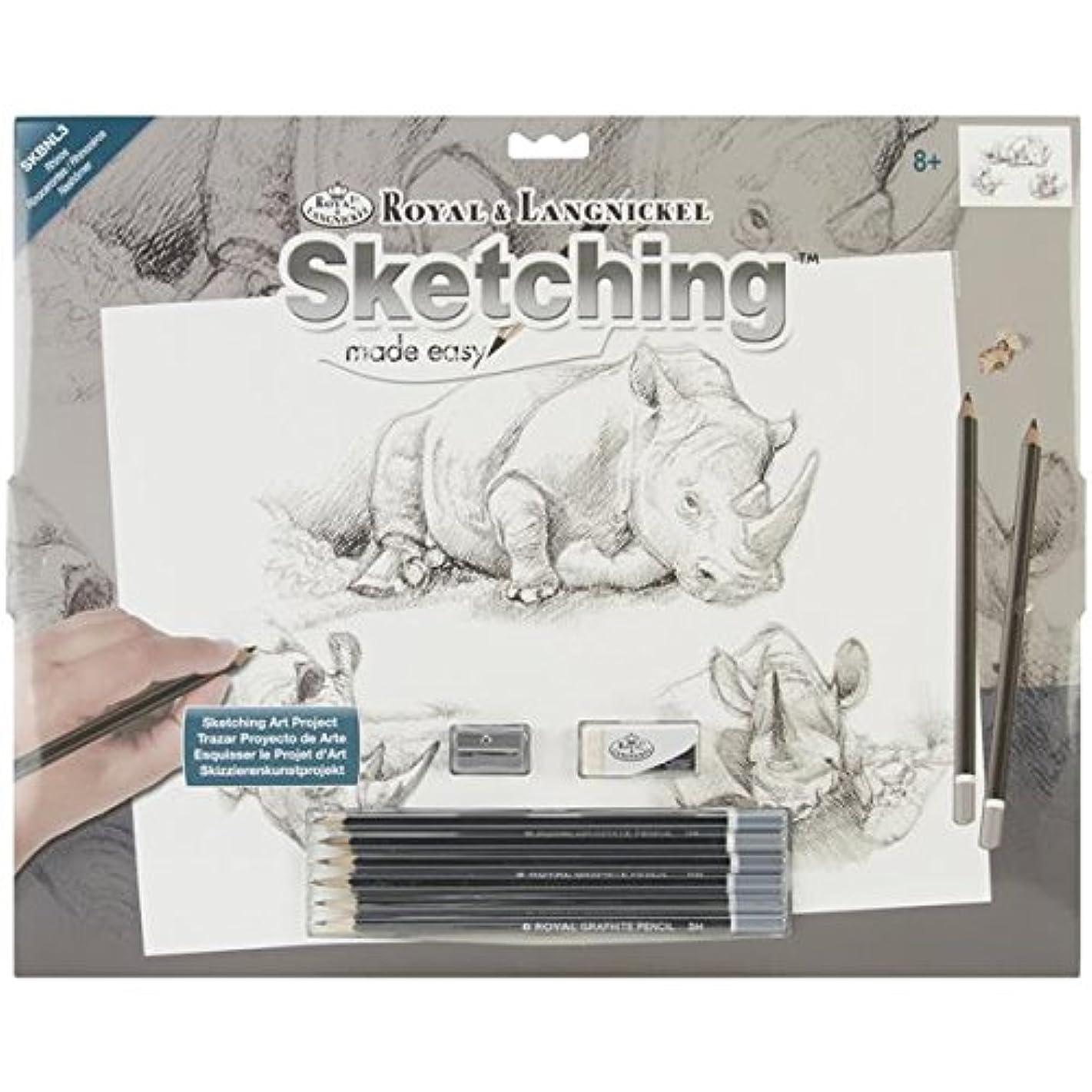 ROYAL BRUSH Sketching Made Easy Kit, Large, Rhinos