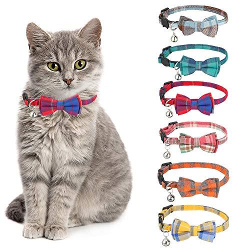 Veraing 6 collares para gatos con lazo, corbata y cascabel, con cierre de seguridad, ajustables, para gatos y algunos cachorros (patrón de cuadros)