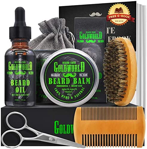 Beard Kit Beard Growth Kit Beard Grooming Kit w Beard Growth Oil Balm Conditioner Beard Brush product image