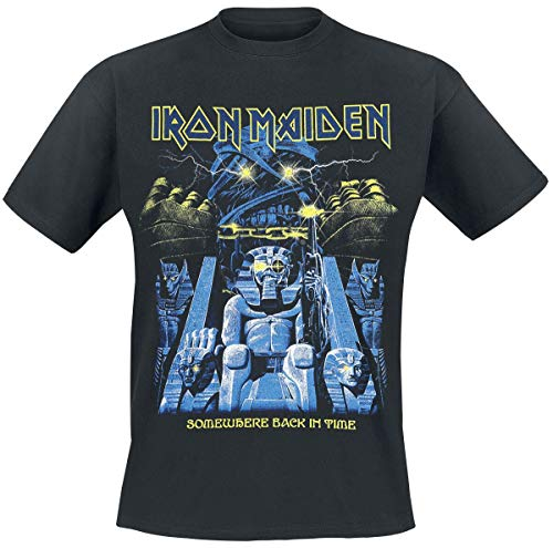 Iron Maiden Back in Time Mummy Hombre Camiseta Negro XL, 100% algodón, Regular