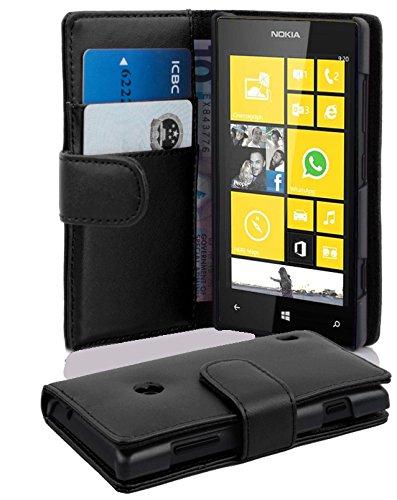 Cadorabo Custodia Libro per Nokia Lumia 520 in Nero - con Vani di Carte e Funzione Stand di Similpelle Fine - Portafoglio Cover Case Wallet Book Etui Protezione