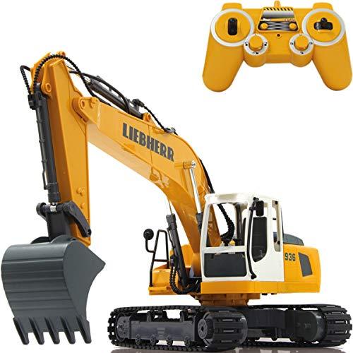 Baustellenfahrzeug ferngesteuert OFFIZIELL LIZENZIERT RC 1:20 (2.4 GHz) Spielzeug Modell Fahrzeug (Liebherr Bagger R936)