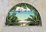 wandmotiv24 Fototapete Ziegelmauer Meer Palmen S 200 x 140cm - 4 Teile Fototapeten, Wandbild, Motivtapeten, Vlies-Tapeten Strand, Karibik, Mauer M1270