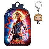 Captain Marvel School Kids Comic Bookbag - Avengers Backpack For Girls 3D Print - Includes Mini Captain Marvel Keychain