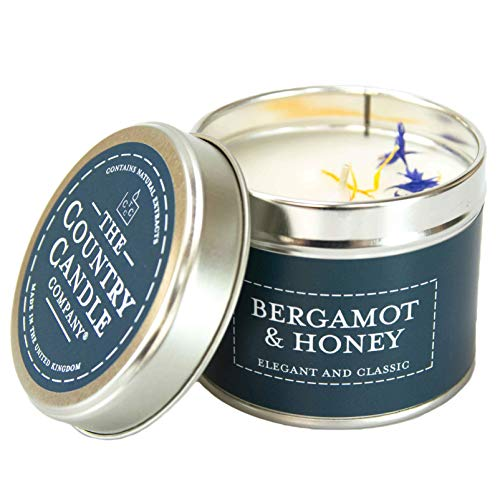 The Country Candle Company Pastels Tin Candle – Bergamot and Honey Scented, Up to 35 Hours Burn Time