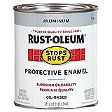 Rust-Oleum 7715502 Stops Rust Gloss Brush On Paint, Quart, Metallic Aluminum