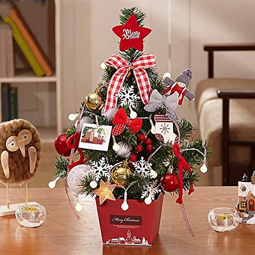 SCJS Alberi di Natale con luci Mini Alberi di Natale Pre-Illuminati con luci LED Multicolore Decorazione da Tavolo da Tavolo con Ornamenti e Palline 45 cm / 60 cm, A