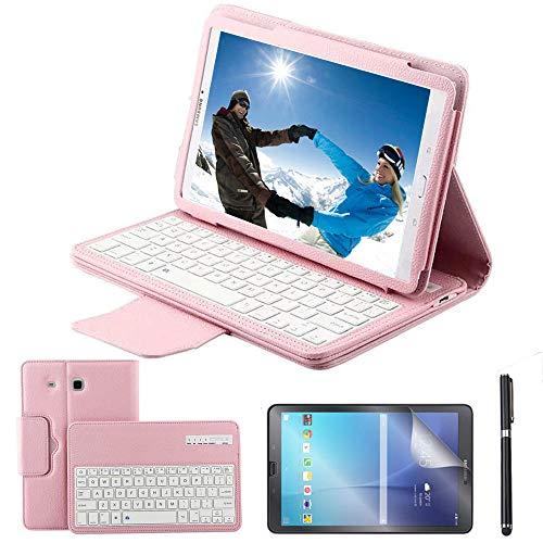 REAL-EAGLE Custodia Galaxy Tab E 9.6 Bluetooth Tastiera con Screen Protector & Stylus, Pelle PU Custodia con Wireless Staccabile Keyboard per Samsung Tab E 9.6 T560 / T561 / T565, Pink