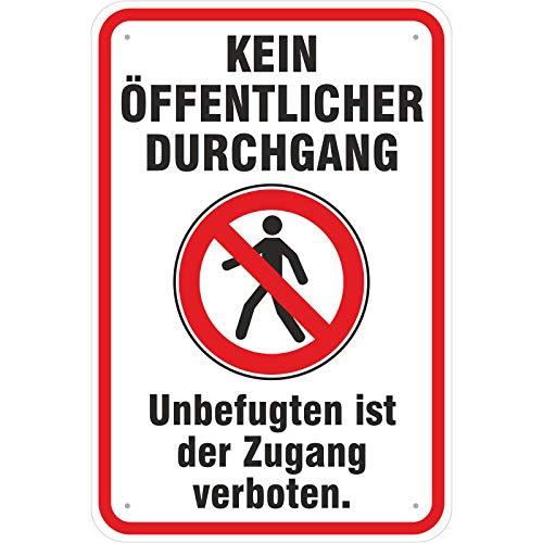 Schild 20x30 cm Schild Hinweisschild kein öffentlicher Durchgang mit Symbol 3 mm Alu