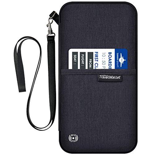 Porta Passaporto da Viaggio Impermeabile Documenti di Famiglia Organizer con Blocco RFID, Nero
