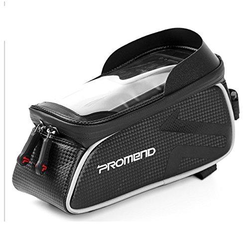 PROMEND Bolsa de bicicleta de montaña/bolsa de sillín Bolsa de teléfono de bicicleta Equipamiento de equitación de bicicleta de carretera (negro)