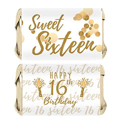 Sweet Sixteen 16th Birthday Mini Candy Bar Wrappers, 45 Stickers (White and Gold)