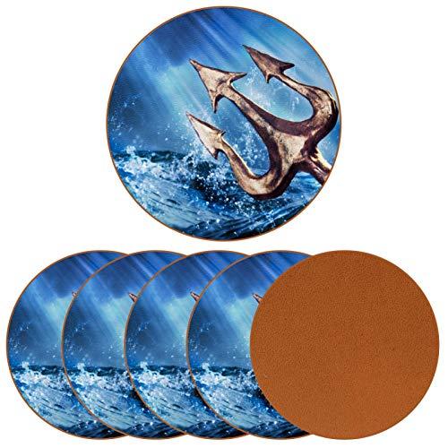 Bennigiry Paisaje de Olas del mar tridente de Poseidón de Cuero Tapetes Redondos Resistentes al Calor para Tazas Taza de café Tapetes Individuales para Tazas de Vidrio, 6 Piezas