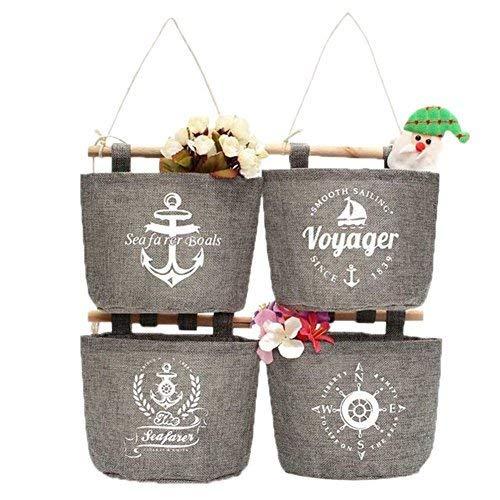Milopon Wand Hängeorganizer Wandtaschen Baumwolle Aufbewahrungstasche hängenden Hängeaufbewahrung Beutel Maritime Tür zurück Aufbewahrungstasche