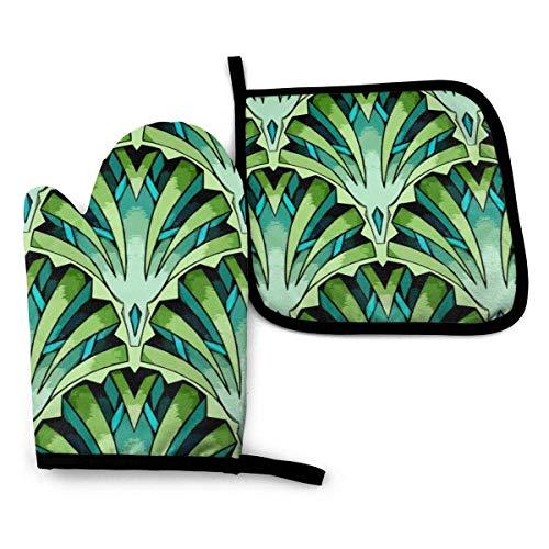 Guantes de Cocina y Juego de Mantel Individual Jade Art Decocon Silicona Antideslizantes para Cocinar, Asar(Juego de 2 piezas)