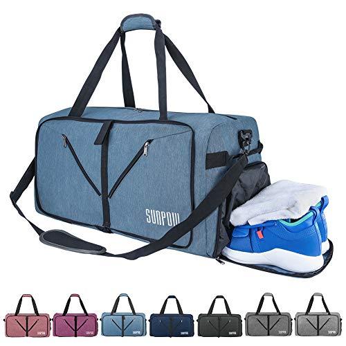 SUNPOW Sporttasche, 65L Faltbare Reisetasche Packbare Sporttasche mit Schuhfach Gym Fitness Tasche für Herren and Frauen Wochenend Handgepäck Tasche Reisegepäck mit Schulterriemen - 100{1072a38297f44f4dcfed7a7d250c9087ad3a17dba77e5f67d380a91d61cef5fc} Robust