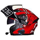 Casco de Moto Modular Integrado con Bluetooth HD Negro Marrón Lente Auriculares y Micrófono Integrados Casco de Carreras de Cara Completa Diseño 54~63CM