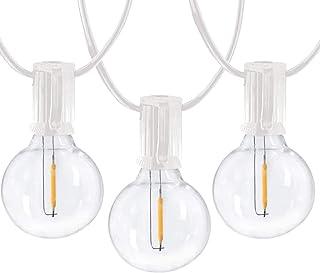 Romasaty 25Ft G40 LED Outdoor Globe String Lights with 27 Shatterproof LED Clear Vintage Edison Light Bulbs, Decorative Li...