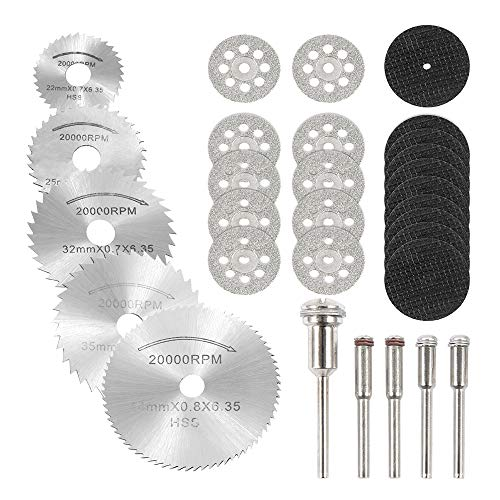 30pcs Diamond Cutting Discs 10 Pieces 25 mm Vented Diamond Cutting Disc Kit,10 Pieces 32mm Resin Cutting Wheels, 5 Pieces High Speed Steel Saw Blades with 5 Handles for Dremel Rotary Tool