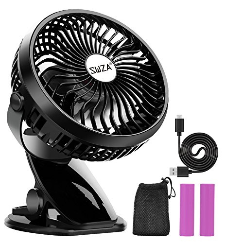 Stroller Fan Clip on Fan Rechargeable Battery Operated Fan - Powerful Airflow Low Noise - GKG Portable Clip Fan for Baby Stroller Travel Hiking Camping (2 Batteries and 1 Reusable Mesh Bag included)